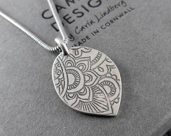 Handmade Mehndi Pendant in oxidised Sterling Silver; floral, CORNART, artisan, texture, Asian, necklace