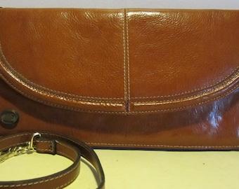 Vintage leather French designer bag, shoulder bag, clutch; Jaques Esterel, JE, vg condition!