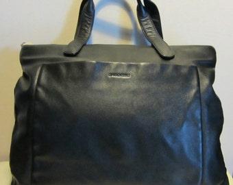 Italian vintage black leather bag. handbag, Claudio Ferrici, Italy. Near mint