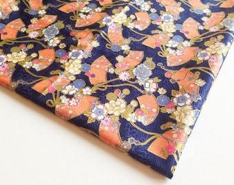 Japan Tradition Fan Kimono Japanese Cotton, Gerbera Sakura, blue fabric with Orange Fan on River, Dress, jewelry Bag, Woman Blouse, KM035