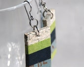 Green Striped Hanji Paper Earrings OOAK Patchwork Grey Green Navy Handmade Hypoallergenic hooks Lightweight