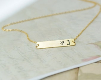 Heart And Initial Bar Necklace, Love Initial Necklace, Personalized Necklace, Hand Stamped Initial Necklace