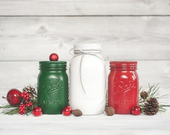 Christmas decor table centerpiece holiday decor red and for Christmas table decorations using mason jars
