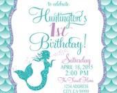 ON SALE Mermaid Birthday Invitation, Mermaid Party Invite Under the sea mermaid glitter
