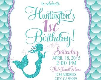 Mermaid Birthday Invitation, Mermaid Party Invite Under the sea mermaid glitter