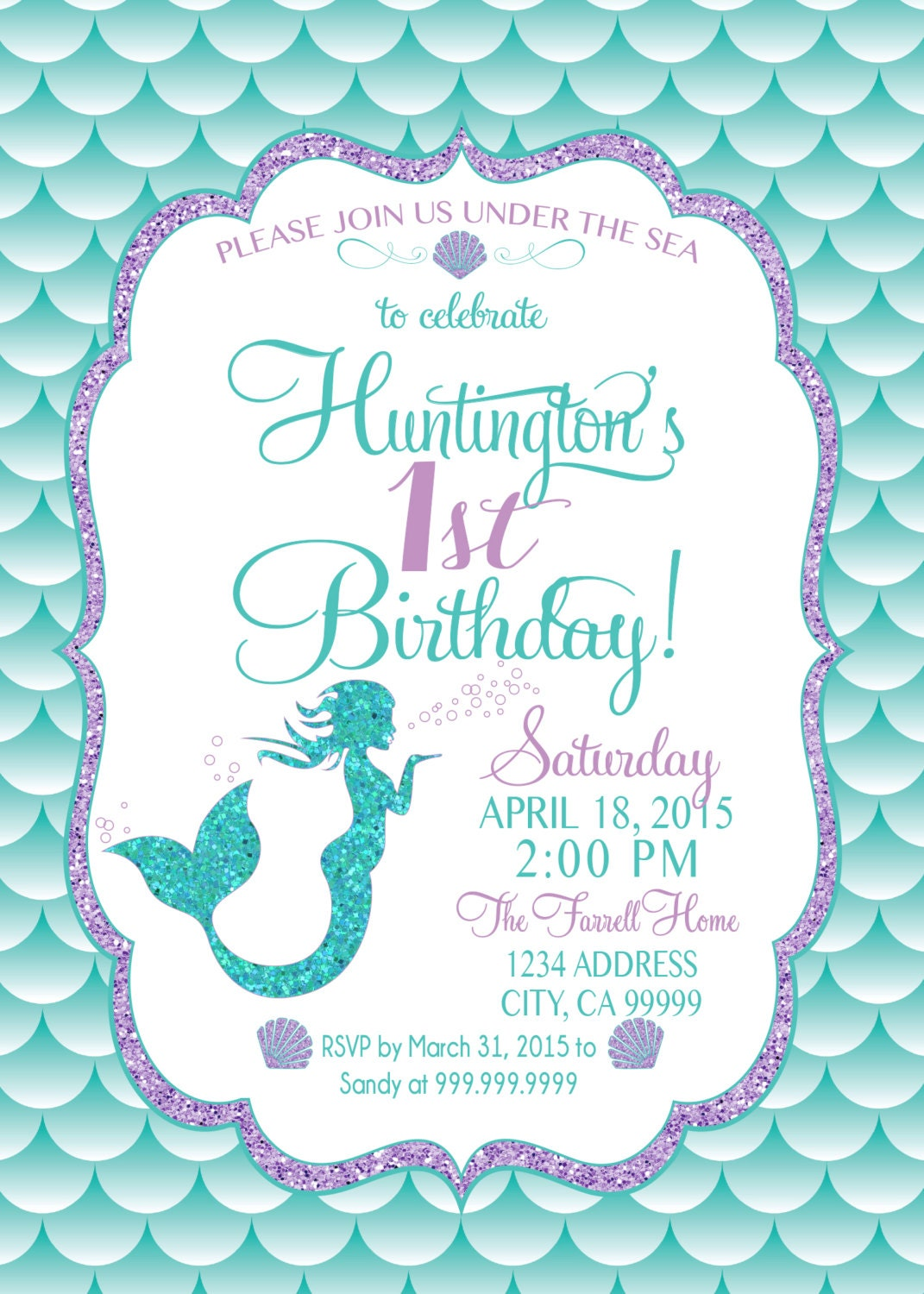 Clean image with regard to mermaid invitations free printable