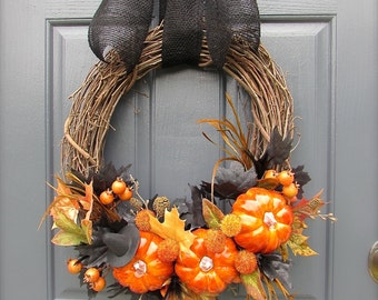 Halloween Wreaths, Halloween Pumpkin Wreaths, Witches Hat, Halloween Door Wreaths, Pumpkin Door Wreaths