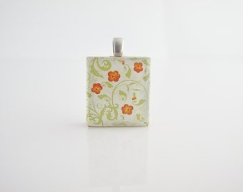 Orange flowers and green leaves necklace - Scrabble Tile on Sterling Silver 925 bail and chain, Floral necklace, Floral pendant