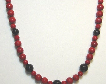 Red Jasper Necklace with Onyx Made in America