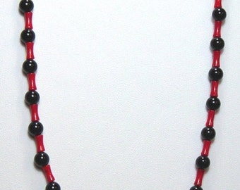 Onyx Necklace with Bamboo Coral