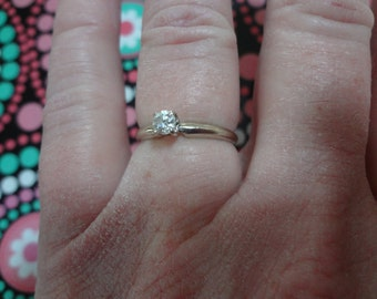 14k Diamond Solitaire Ring White Gold Engagement Ring Size 6 3/4 Promise Ring Gold Band Wedding Ring Bride Groom Solitaire Ring 6.75