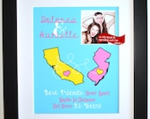 Best Friend Gift for Birthday: Art Print Personalized Map Hometowns Unique Gift Long Distance FriendFriendship Quote Print BFF Photo Custom