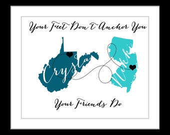 Best friend long distance birthday gifts, unique long distance gift, two map print, personalized state country distance present, 2 map art