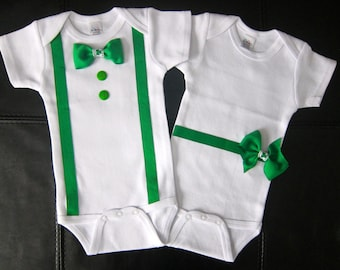 TWINS St. Patrick's Day Tuxedo One piece with suspenders, bow tie, buttons and a dress inspired onesie complete with a matching belt and bow