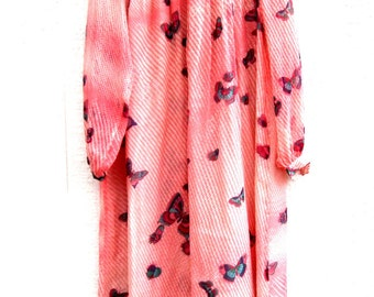Pink sleeved summer dresses with butterflies on them