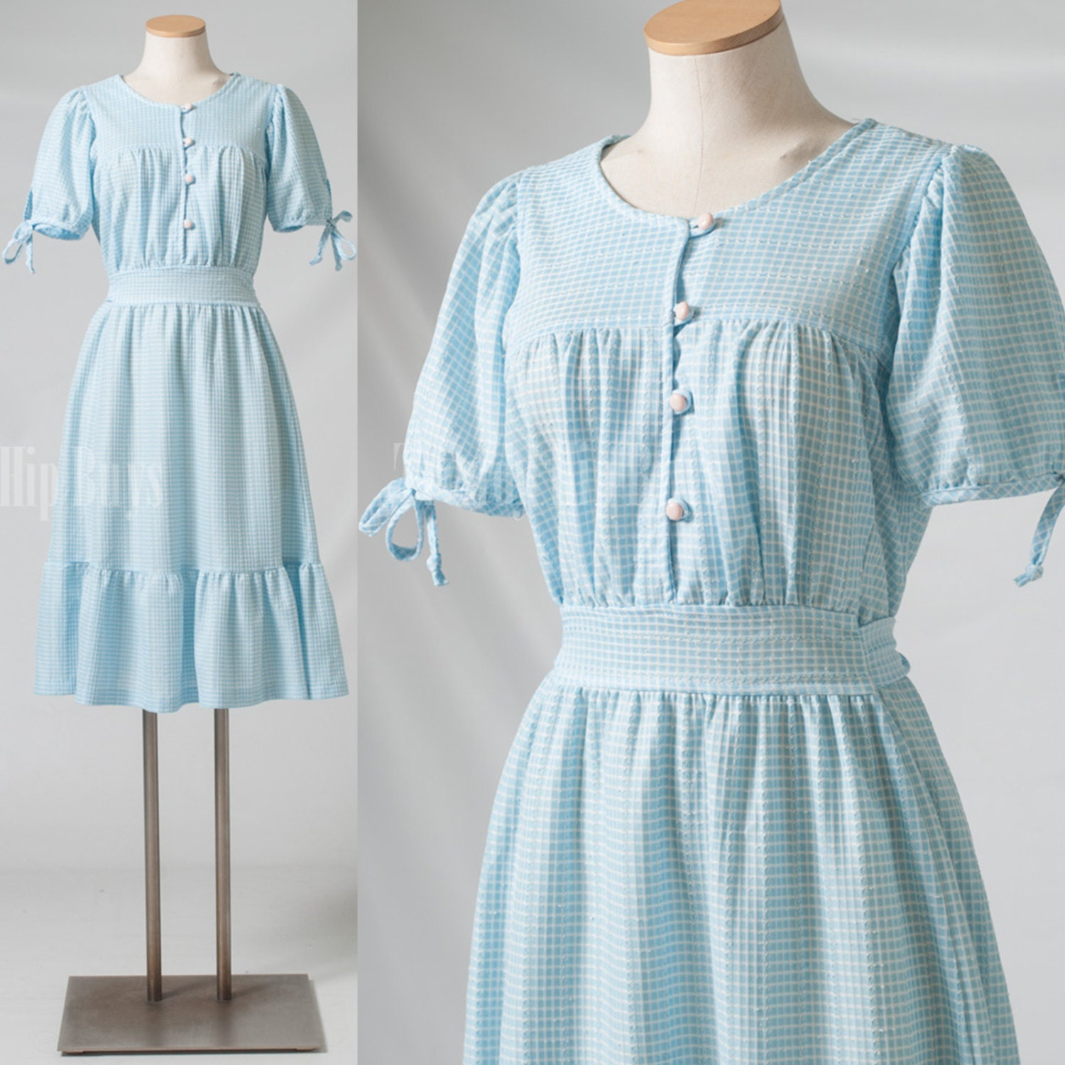 Vintage Dress 60s Dress Blue Dress Vintage Babydoll Dress