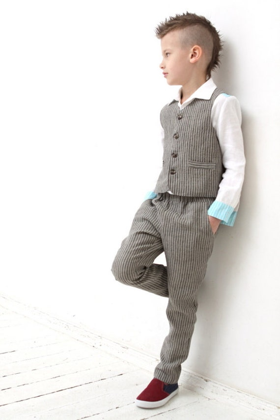 Ring bearer outfit wedding party outfit toddler boy linen vest for Boys dress clothes wedding