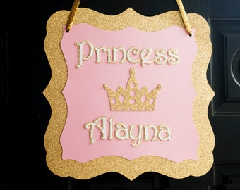 Gold and Pink Party Door Sign,  Princess Party Door Sign, Princess Party Welcome Sign, Princess Birthday Party