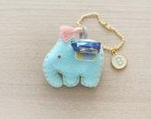 Crystal Quartz Lucky Elephant Initial Mint Tassel charm Felt Keychain -  cute accessories -  Letter Initial Charm - READY TO SHIP