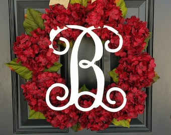 Hydrangea Wreath, Monogram Wreath, Spring Wreath, Summer Wreath, Front Door Wreath, Mothers Day, Wedding Decor, Floral Wreath, Red Floral