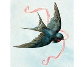 Bird Fabric Block - Swallow Flies with Ribbon - Sign of Spring