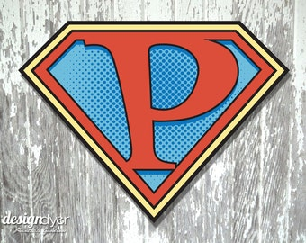 "Superhero Initial ""P"" Sign Large 26""X20"" DIY Printable Instant Download"
