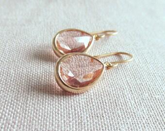 Peach Earrings, Champagne, Gold Dainty Modern Earrings, Minimalism, Bridal Simple