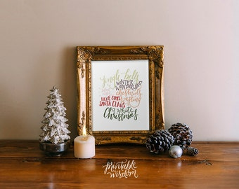 Christmas printable art, winter wall art decoration decor poster, hand lettered calligraphy typography, holiday decor,  Printable Wisdom