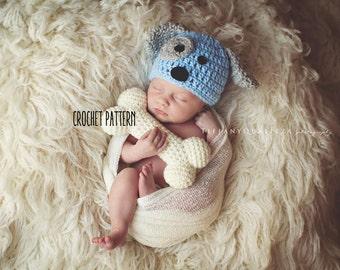 CROCHET PATTERN - newborn puppy hat and bone set pattern, crochet puppy hat pattern, crochet bone pattern, newborn photo prop set pattern
