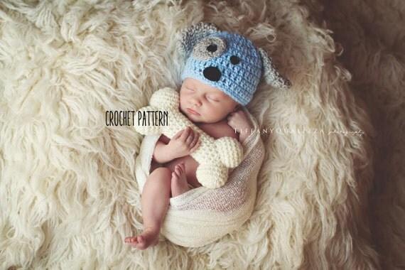 CROCHET PATTERN newborn puppy hat and bone set pattern