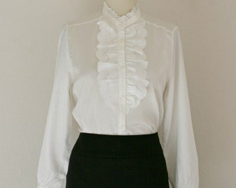 1970's Vintage Ruffle Button Up Blouse / Medium / Large