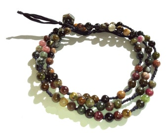 My Religion Is Kindness. Dalai Lama Wrap Bracelet with Morse Code Message in semi-precious tourmaline stones and silk. Silk Bracelet.