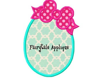 Digital Machine Embroidery Design -  Easter Egg with Bow Appliqué