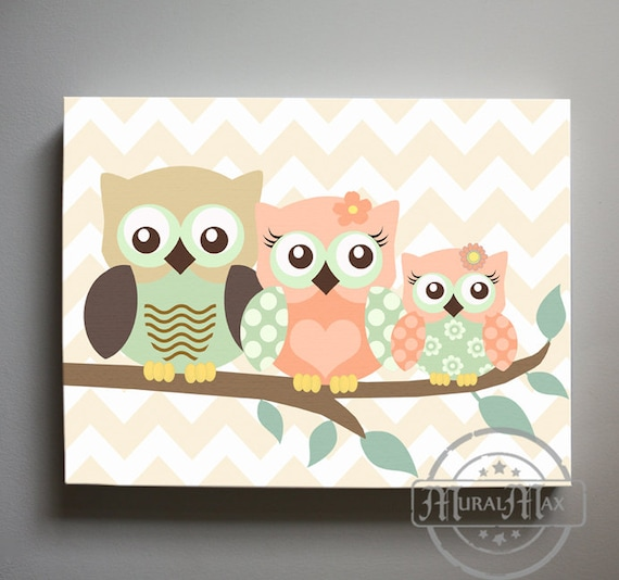 Coral Nursery Wall Decor : Coral and mint nursery owl decor wall art for baby girl room