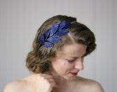 "Navy Leaf Headband, Dark Blue Hair Accessory, Womens Hair Band, Leaves Headpiece, Vintage Navy Fascinator 1950s Velvet - ""Midnight Sapphire"""