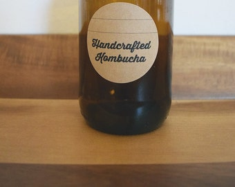 40 Handcrafted Kombucha Labels Stickers / Rustic Homebrew Kombucha Labels / Homemade Kombucha Labels
