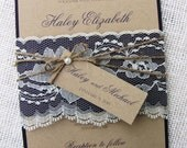 Rustic Lace Wedding Invitation, Vintage Wedding Invitation, Elegant Wedding Invitation, Navy, Kraft Wedding Invitation