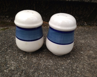 Stoneware  Salt and Pepper Shakers White Blue Stripe Vintage Table