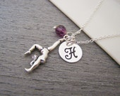 Gymnast Swarovski Birthstone Initial Personalized Sterling Silver Necklace / Gift for Her