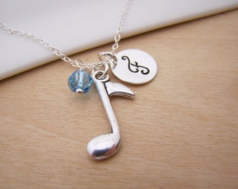 Music Note / Musician Charm Swarovski Birthstone Initial Personalized Sterling Silver Necklace / Gift for Her