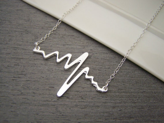 Heartbeat Pulse Bar Charm Sterling Silver Necklace Simple Jewelry - Nurse Necklace - Nurse Gift - Gift for Her