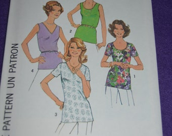 Vintage 70s Simplicity 7911 Simple to Sew Misses and Womens Tops Sewing Pattern - UNCUT - Size 12 or Size 16 or Size 18 and 20