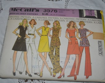 McCall's 3576 Misses Basic Dress or Tunic  and Pants - Size 16 Bust 37 - UNCUT