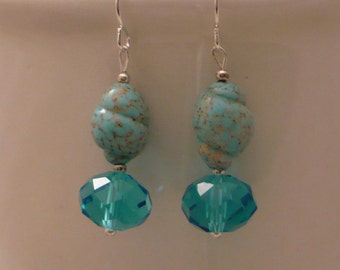 Turquoise shell and crystal earring