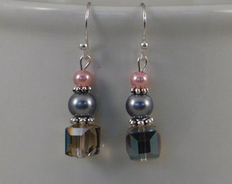 Pink and gray pearl and crystal earrings.