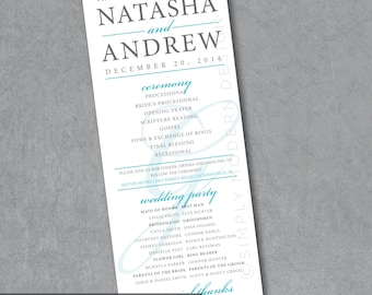elegant and modern wedding ceremony program, PRINTABLE