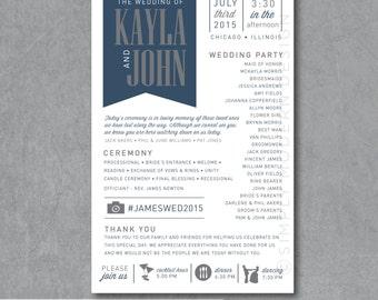 wedding program, ceremony program, banner style,  PRINTABLE