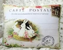EASTER Bunny RABBIT Pillow, French Script, Paris Postcard, Easter Decor