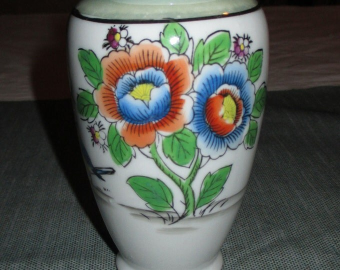 Made in Japan 5 inch Porcelain Vase, Hand Painted Red and Blue Flowers, Blue Bird, Green Luster Rim, ca. 1930s