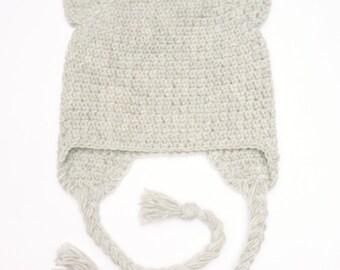 Crochet Cat Hat, Earflap Cat Hat, Cat ears Hat, Cute Girls Outfit, Teens Women Hat, Kitty Kitten Hat, Gray Cat, Black Cat, White Cat,